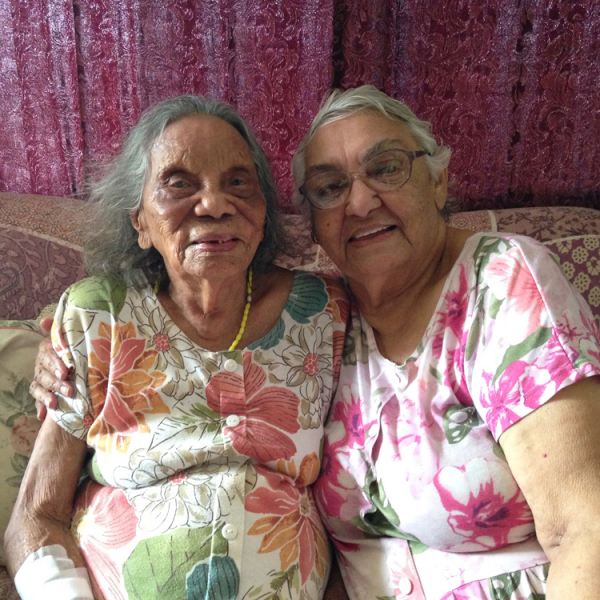 Aunty Nancy Gibbs (née Croft, Gurindji people) and Aunty Barbara Raymond (née Mills, Larrakia people), Darwin, 7 November 2014
