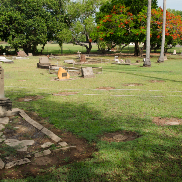 Darwin Gardens Cemetery 1930s plots, including 'Handsome Joe' Croft's plot, # 812, 6 November 2014