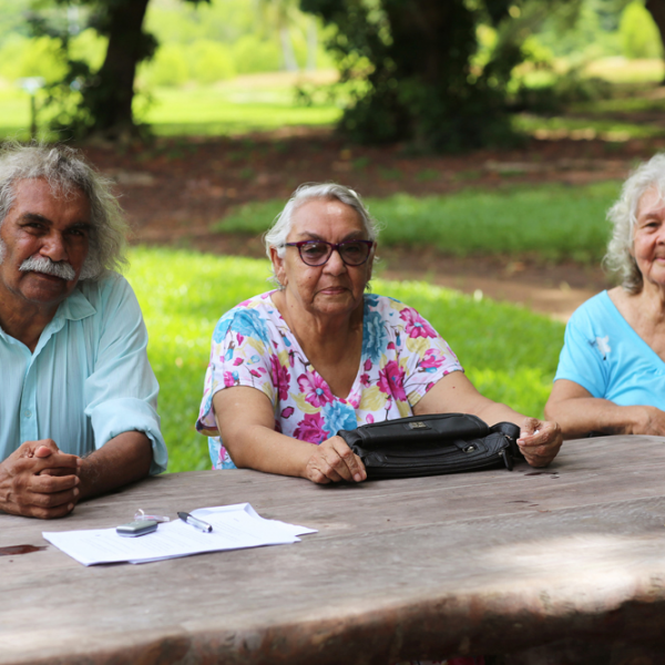 Maurie Ryan Japarta, Aunty Barbara Raymond (née Mills, Larrakia people) and Aunty Kathy Mills (née McGinniss, Gurindji/Kungarakan peoples), Darwin Botanic Gardens, near NT Stolen Generations Memorial, 19 March 2016