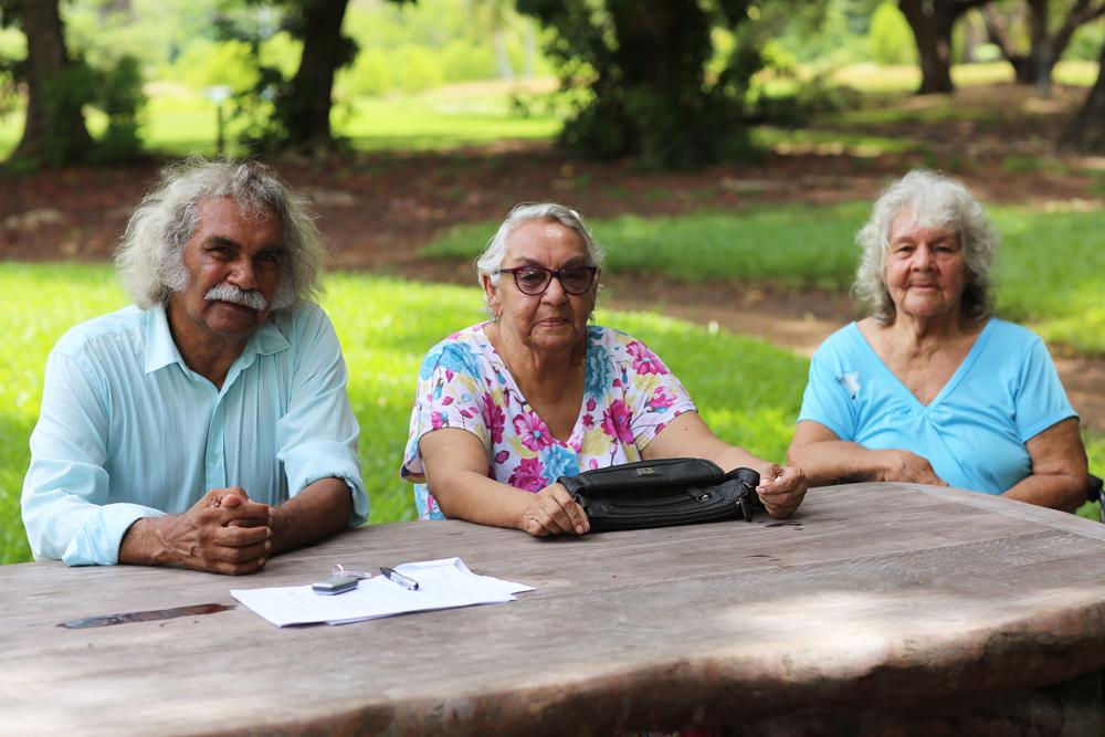 Maurie Ryan Japarta, Aunty Barbara Raymond (née Mills, Larrakia people) and Aunty Kathy Mills (née McGinniss, Gurindji/Kungarakan peoples), Darwin Botanic Gardens, near NT Stolen Generations Memorial, 19 March 2016
