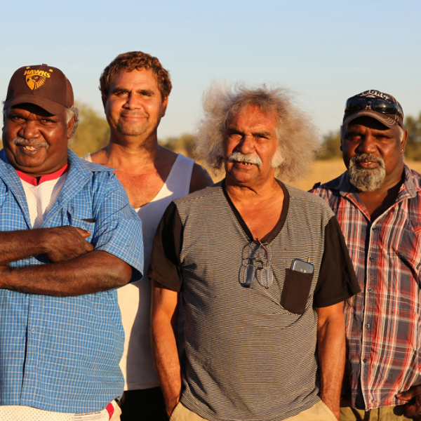 Michael Paddy Japarta, John Leemans Jukurtayi, Maurie Ryan Japarta, Justin Paddy Japarta, Wave Hill Walk-Off Track near Junani (Gordy Creek), 8 July 2015