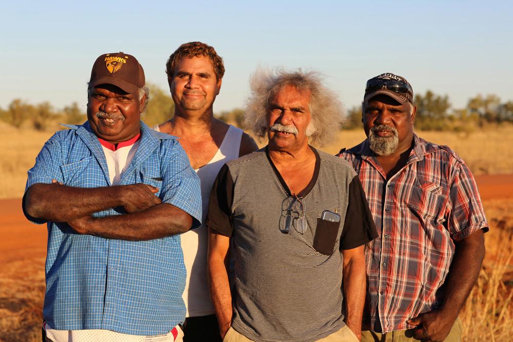 Michael Paddy Japarta, John Leemans Jukurtayi, Maurie Ryan Japarta, Justin Paddy Japarta, Wave Hill Walk-Off Track near Junani (Gordy Creek), 8 July 2015