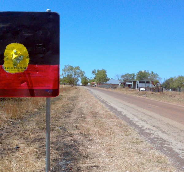 NT Emergency Response/Intervention sign, customised by John Leemans, Daguragu, 29 August 2011