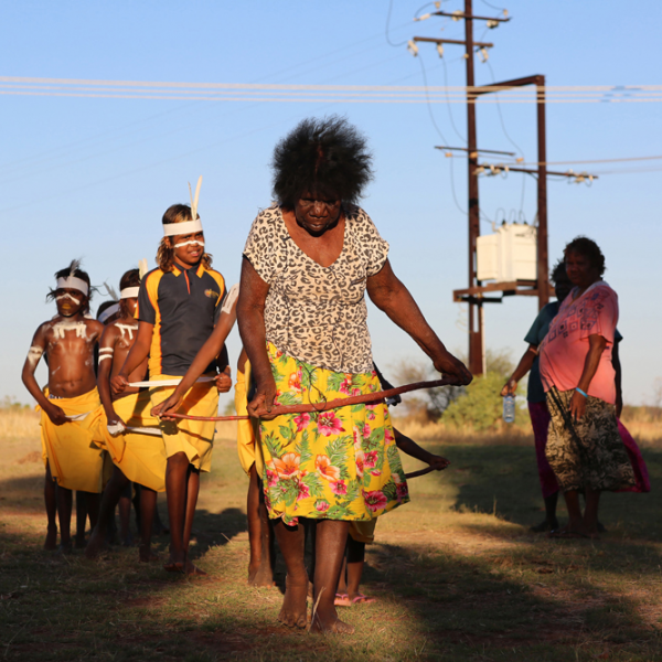 Topsy Dodd Ngarnjalngali Nangari leading young girls in dance, Wajarra, Karungkarni Art and Culture Aboriginal Corporation, 20 October 2015