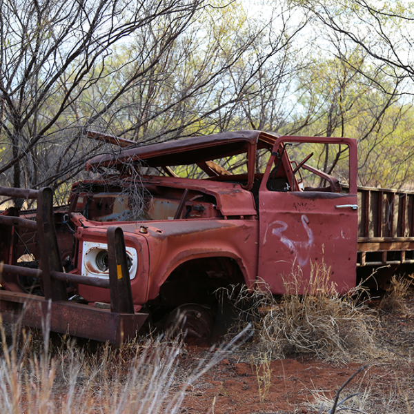 Bedford truck #2 used by Daguragu community during the 1970s and '80s to go hunting, fishing and camping out, Daguragu dump, 9 July 2015