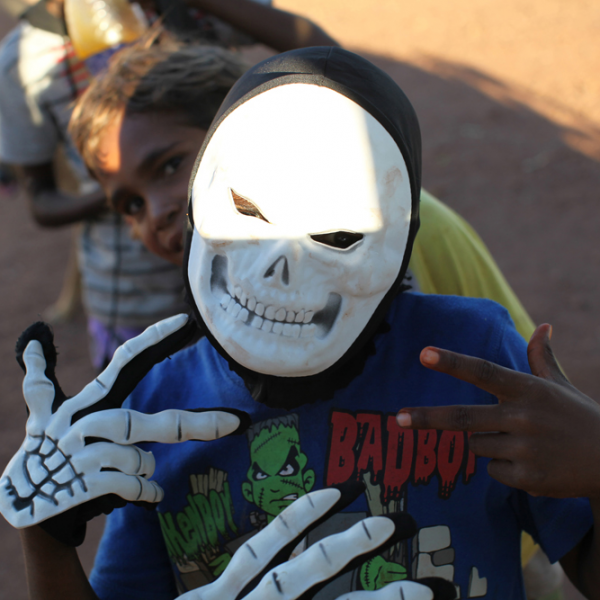 Boys with mask, Daguragu, 19 June 2014