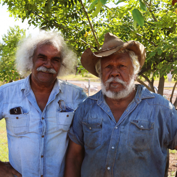 Maurie Ryan Japarta with Rankin Liddy (Wagiman people) at Rankin's house, Kalkaringi, 5 April 2015