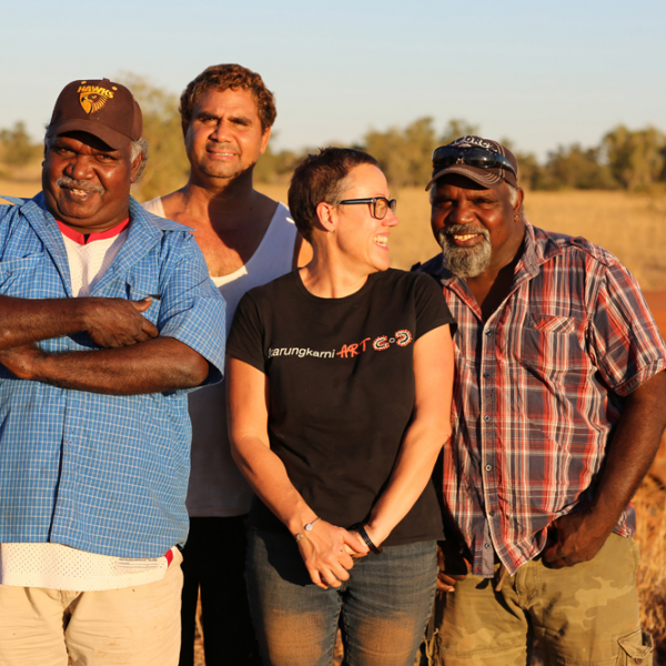 Michael Paddy Japarta, John Leemans Jukurtayi, Brenda L Croft Nangari, Justin Paddy Japarta, Wave Hill Walk-Off Track near Junani (Gordy Creek), 8 July 2015