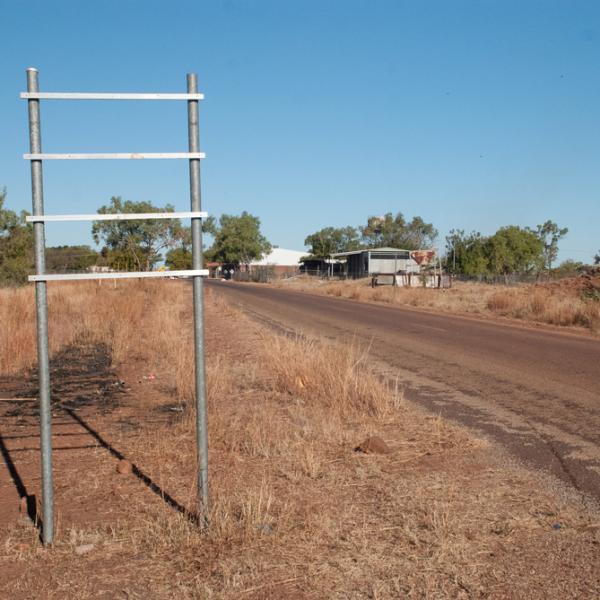 NT Intervention sign posts, Daguragu, 31 August 2014