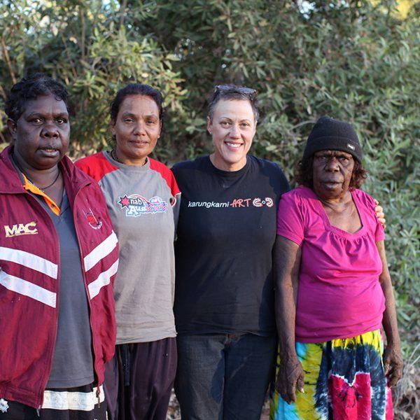 Serena Donald Narrpingali Nimarra, Leah Leaman Namija, Brenda L Croft Nangari, Violet Wadrill Nanaku, Artists camp, Warrijkuny (Sambo Rockhole), 17 June 2014
