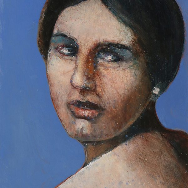 Woman looking over her shoulder